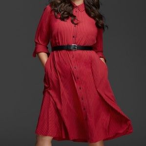 GLAMOUR X LANE BRYANT Striped Shirtdress